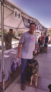 Brett of D&H AC at sweat for pets with D&H AC t-shirt