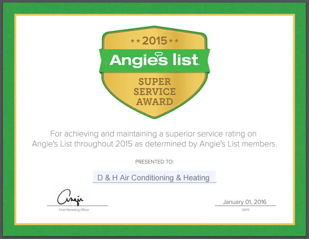 Angie's List Super Service Award 2015 - Certificate