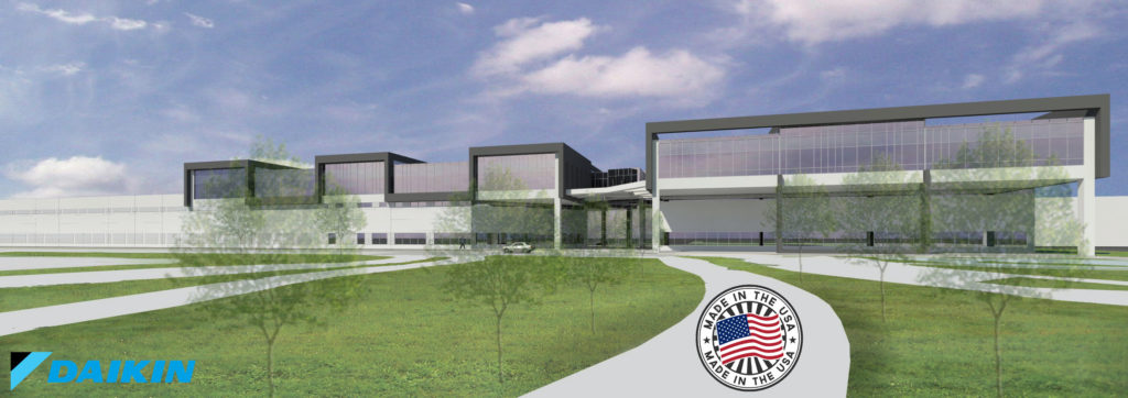 Daikin new building with logo and USA