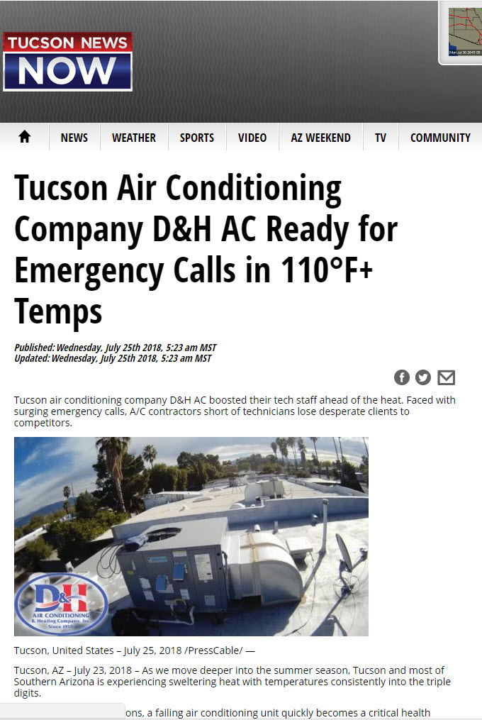 Tucson News Now Features D H Ac D H Air Conditioning