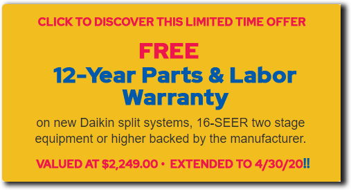 12 Year Free Warranty Free Daikin Air Conditioning Service & Repair Parts & Labor