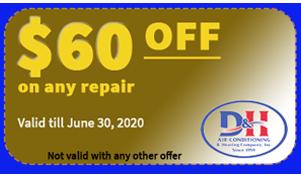$60 OFF on AC repair coupon - June 30 2020