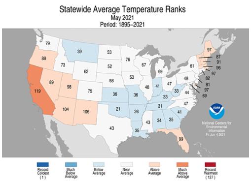 104°F on average in Arizona in May 2021